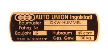 DKW Hummel Auto-Union Typschild