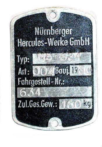 Blanko Typenschild Hercules M5-634