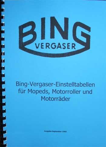 Bing Vergaser Einstelltabellen