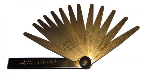Präzisions-Fühlerlehre Stahl 13 Blatt 0,05-1,0mm