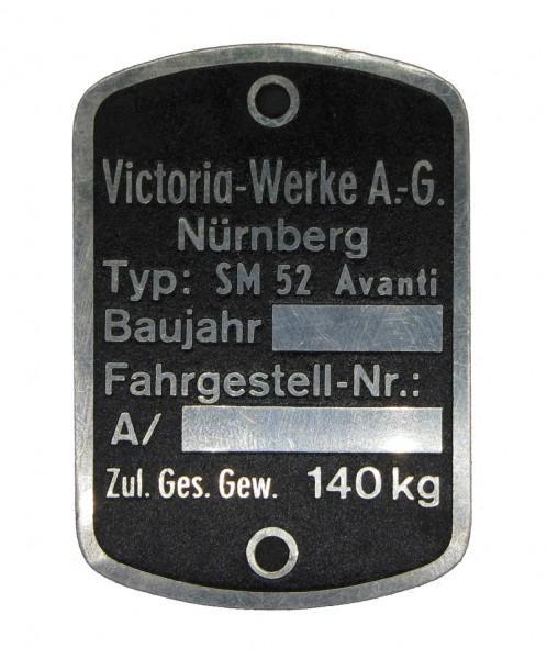 Victoria Werke AG Victoria Avanti SM52 Typenschild NOS