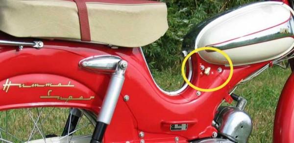 DKW Hummel Super Benzinhahn Stellung Position Aufkleber