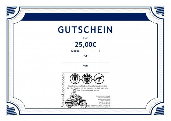Geschenk Gutschein 25€