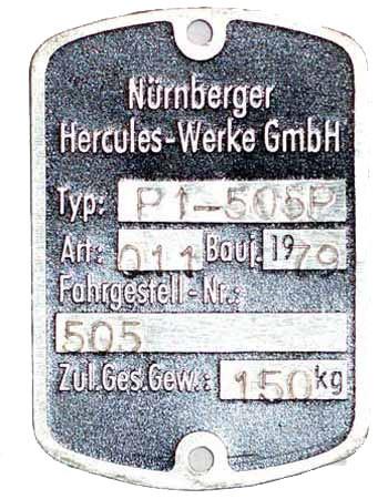 Blanko Typenschild Hercules P1-505P