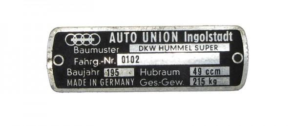 DKW Hummel Super Auto-Union Typschild